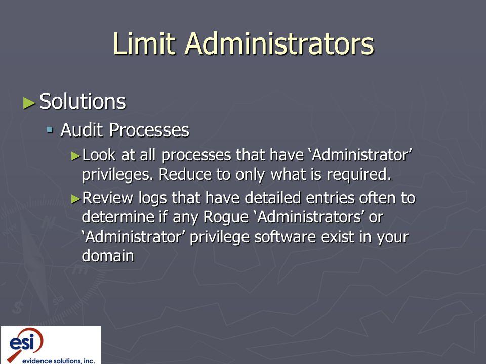 Limit Administrators Solutions Audit Processes