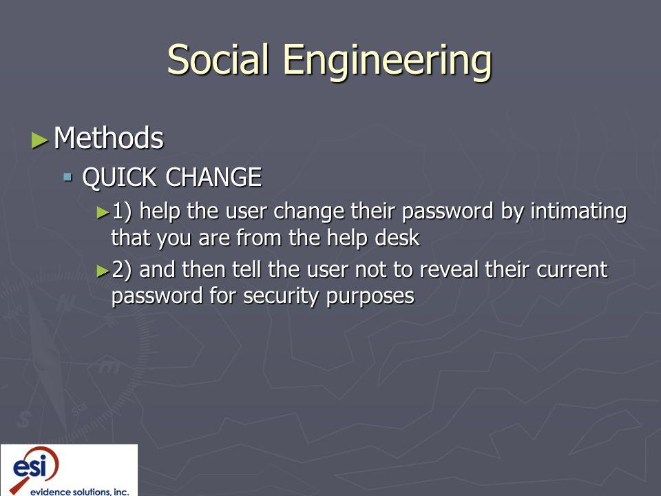 Social Engineering Methods QUICK CHANGE