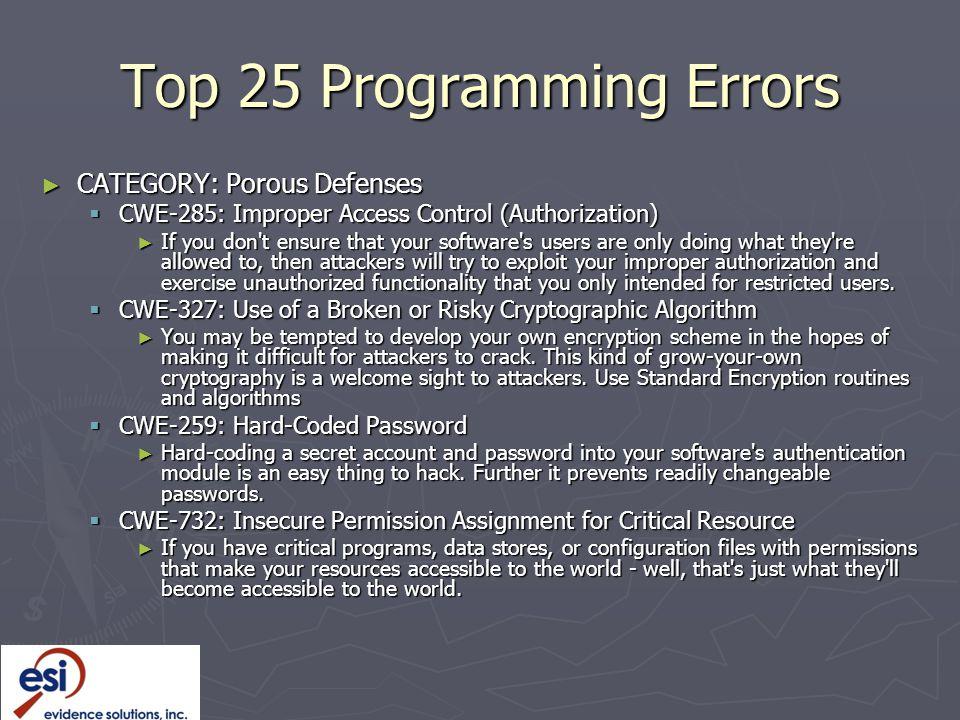 Top 25 Programming Errors