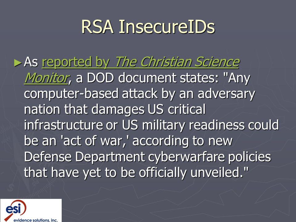 RSA InsecureIDs