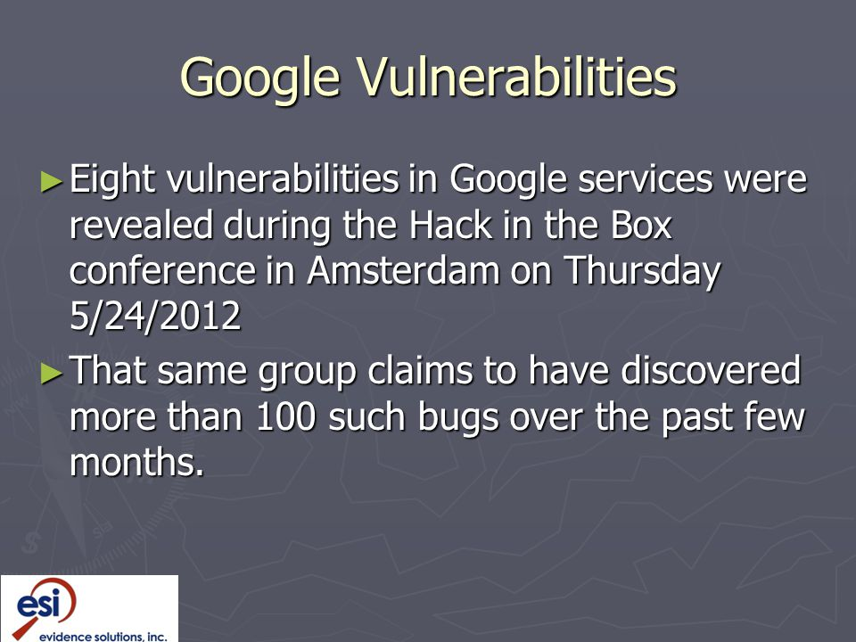 Google Vulnerabilities