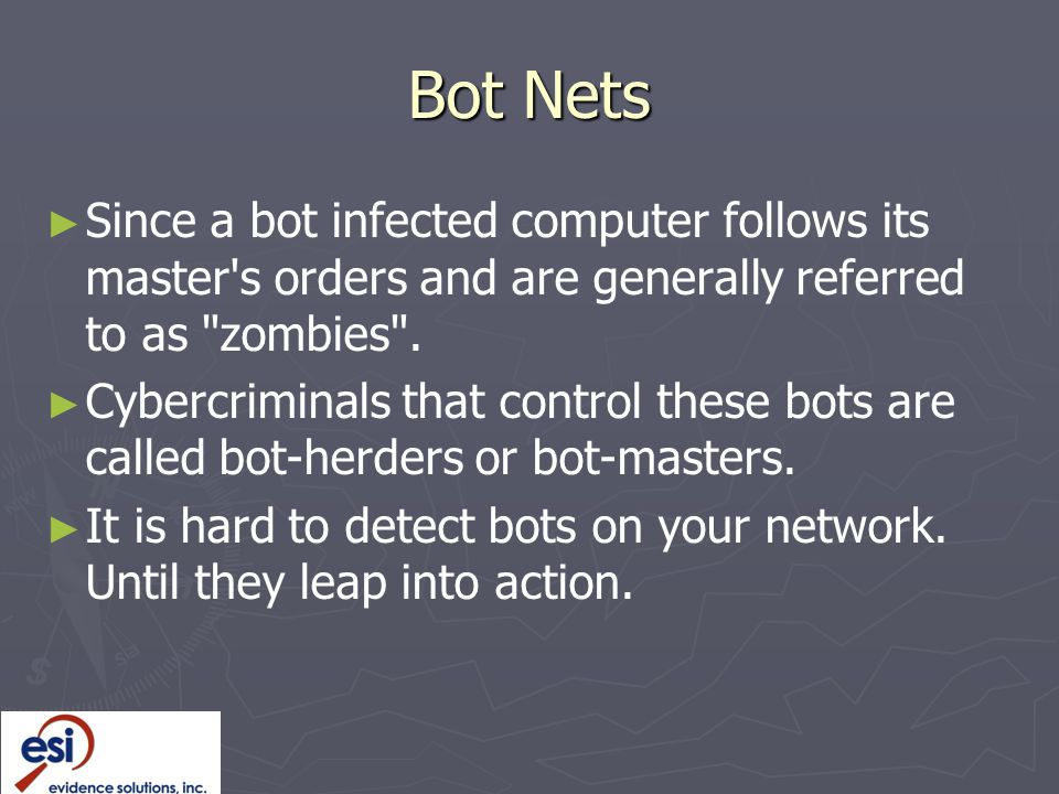 Bot Nets Since a bot infected computer follows its master s orders and are generally referred to as zombies .