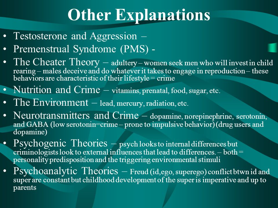Other Explanations Testosterone and Aggression –