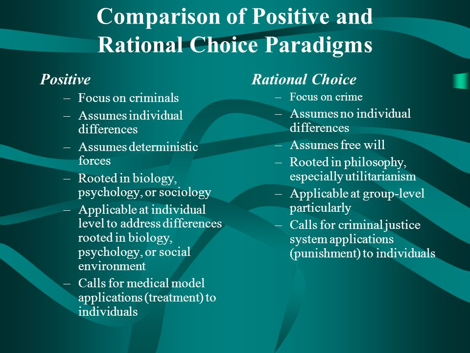 Comparison of Positive and Rational Choice Paradigms