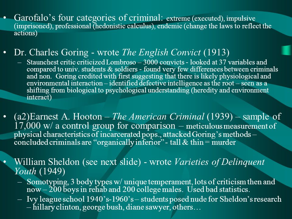 Dr. Charles Goring - wrote The English Convict (1913)