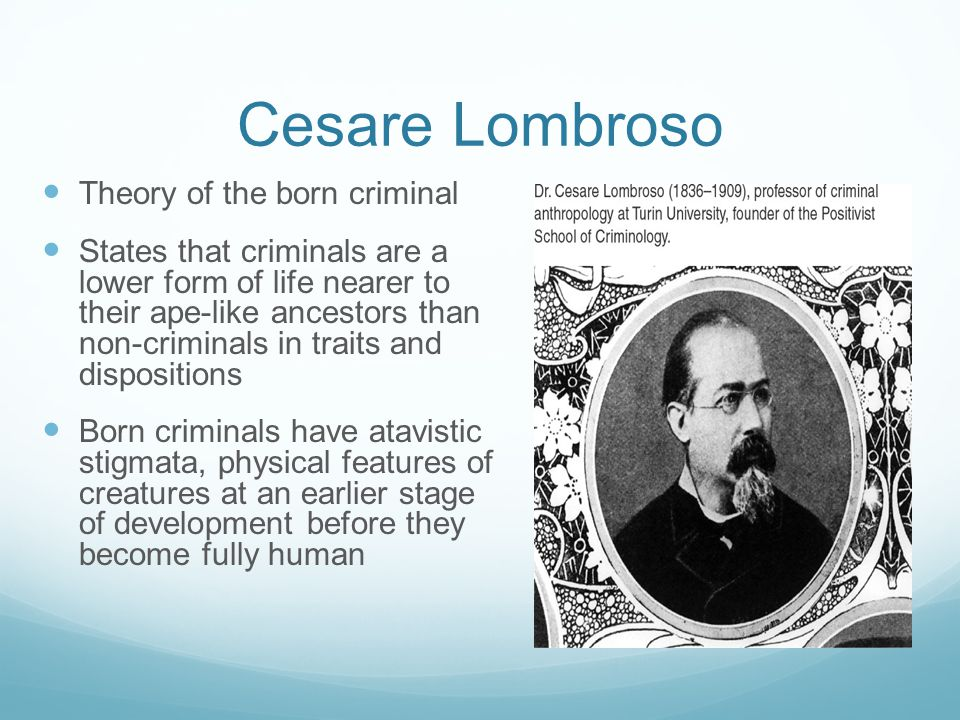 Cesare Lombroso Theory of the born criminal