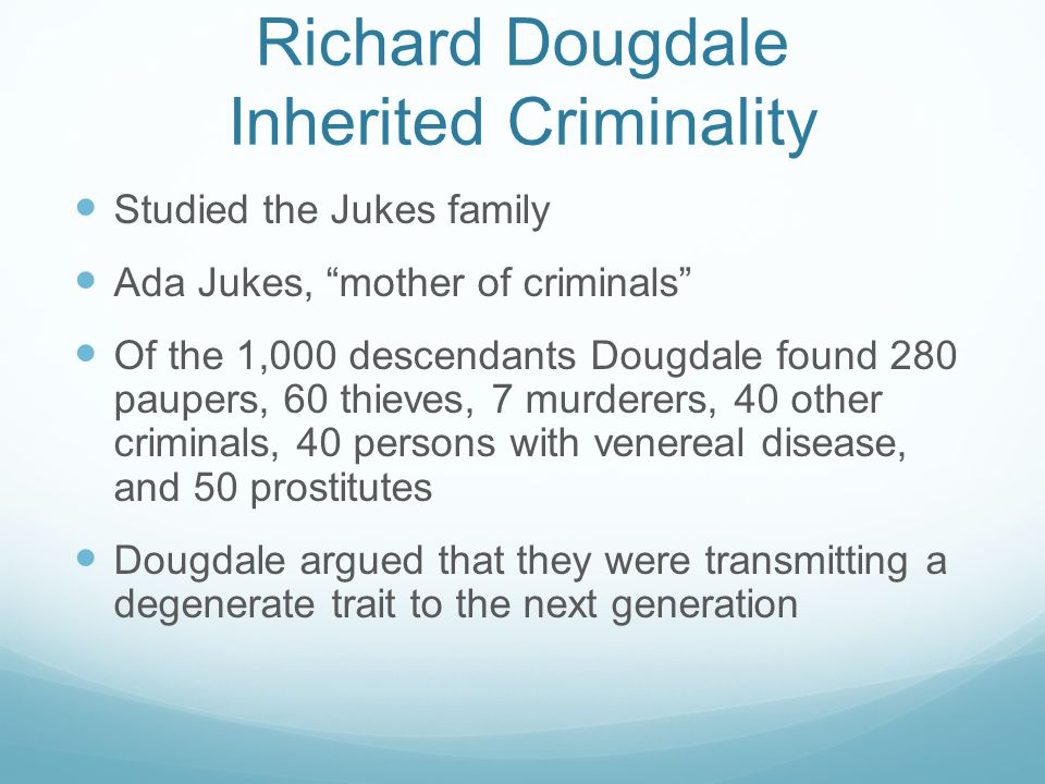 Richard Dougdale Inherited Criminality