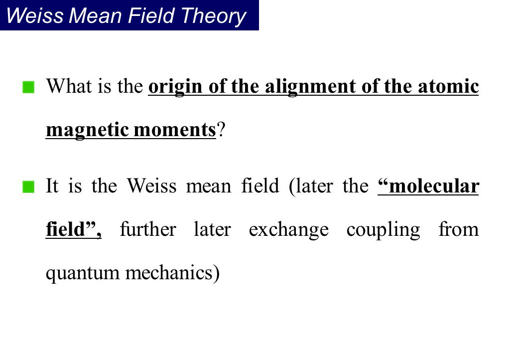 Weiss Mean Field Theory
