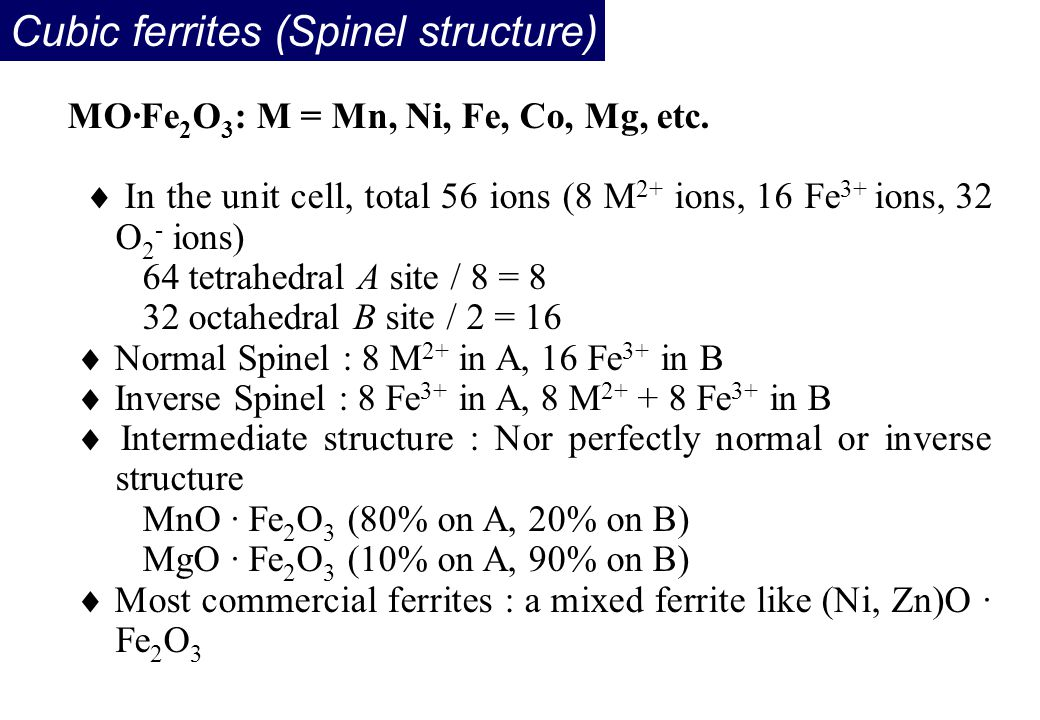 Cubic ferrites (Spinel structure)