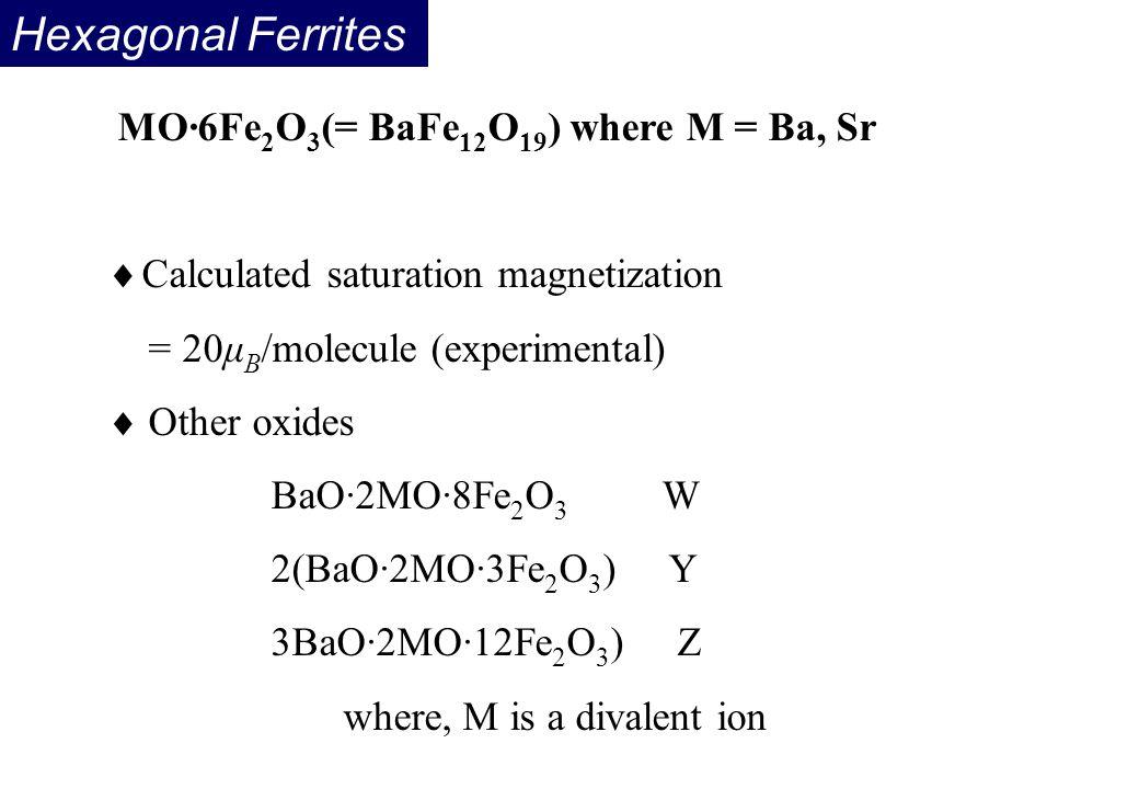 Hexagonal Ferrites MO·6Fe2O3(= BaFe12O19) where M = Ba, Sr