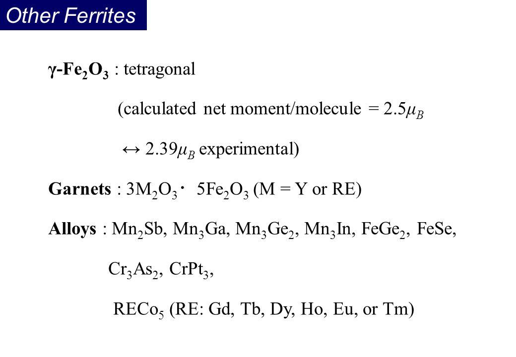 Other Ferrites γ-Fe2O3 : tetragonal