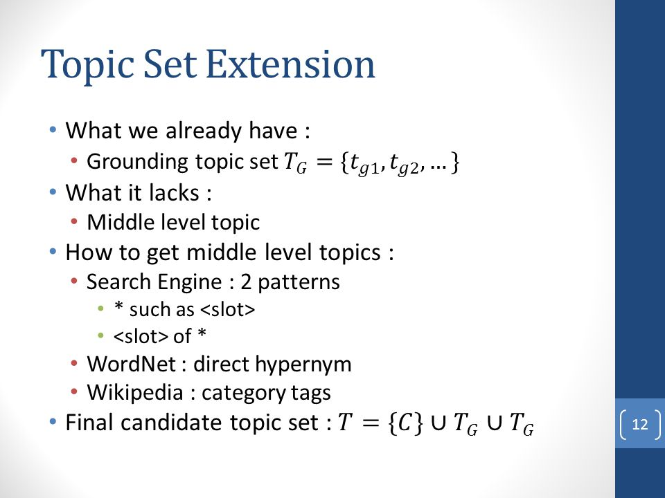Topic Set Extension What we already have : What it lacks :