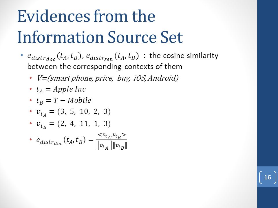Evidences from the Information Source Set