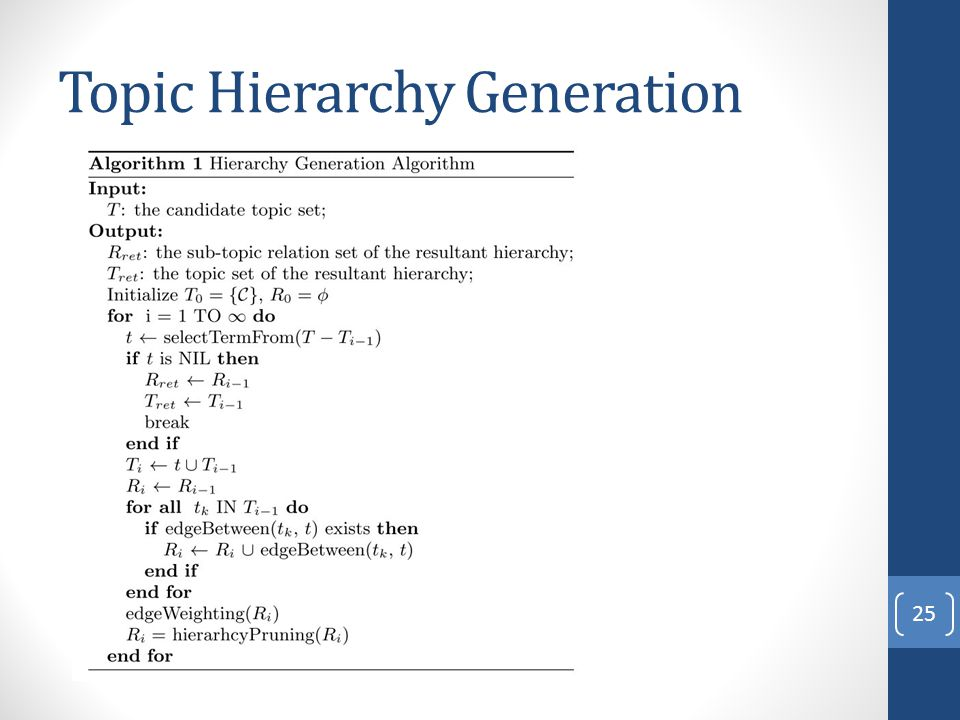 Topic Hierarchy Generation