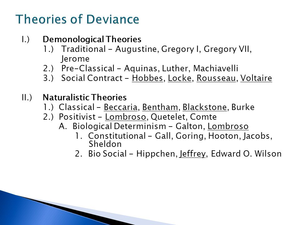 Theories of Deviance I.) Demonological Theories