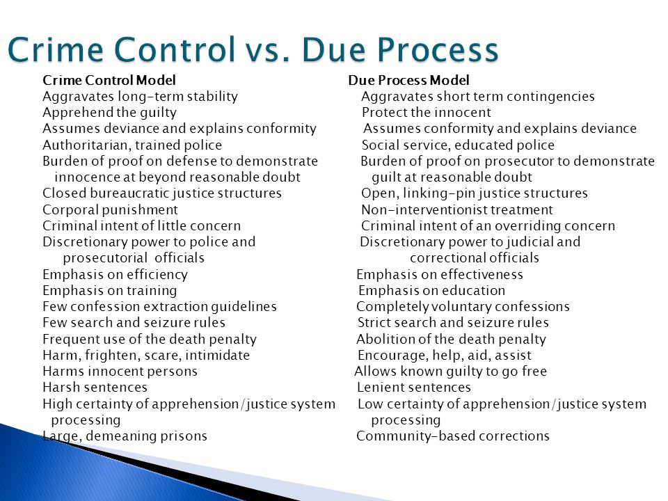 'due process vs crime control model Due process vs crime control model two models of crime: the due process model and the crime control model have been debated for a long time.
