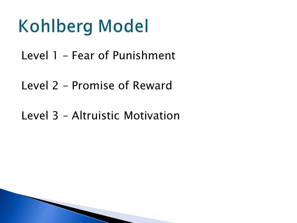 Kohlberg Model Level 1 – Fear of Punishment Level 2 – Promise of Reward Level 3 – Altruistic Motivation