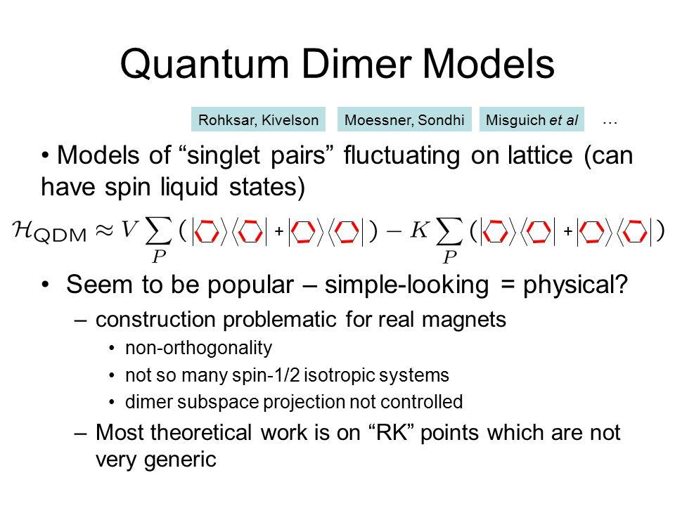 Quantum Dimer Models Rohksar, Kivelson. Moessner, Sondhi. Misguich et al. …