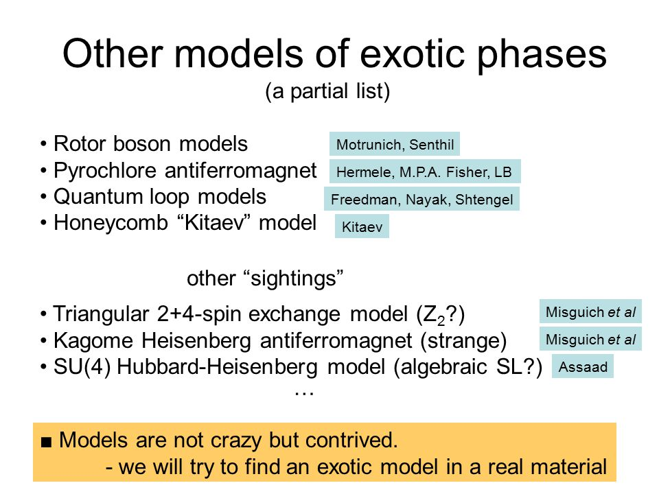 Other models of exotic phases