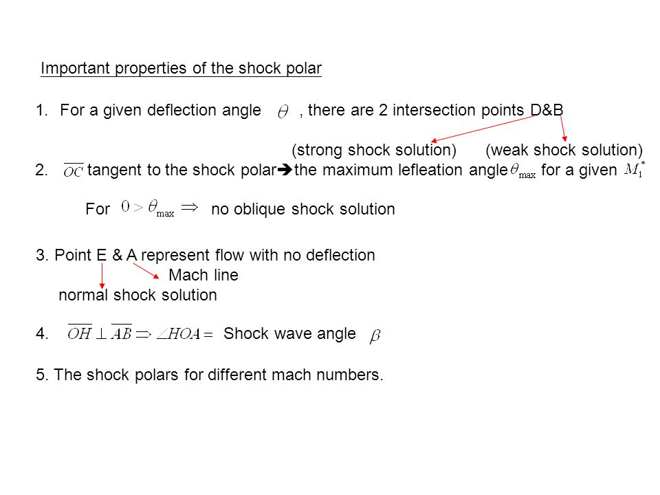 Important properties of the shock polar