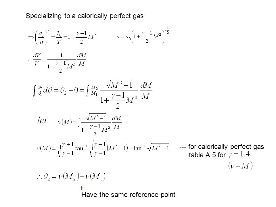 Specializing to a calorically perfect gas