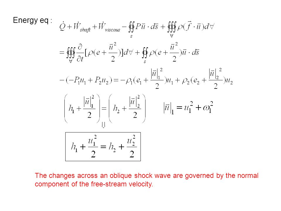 Energy eq : The changes across an oblique shock wave are governed by the normal.