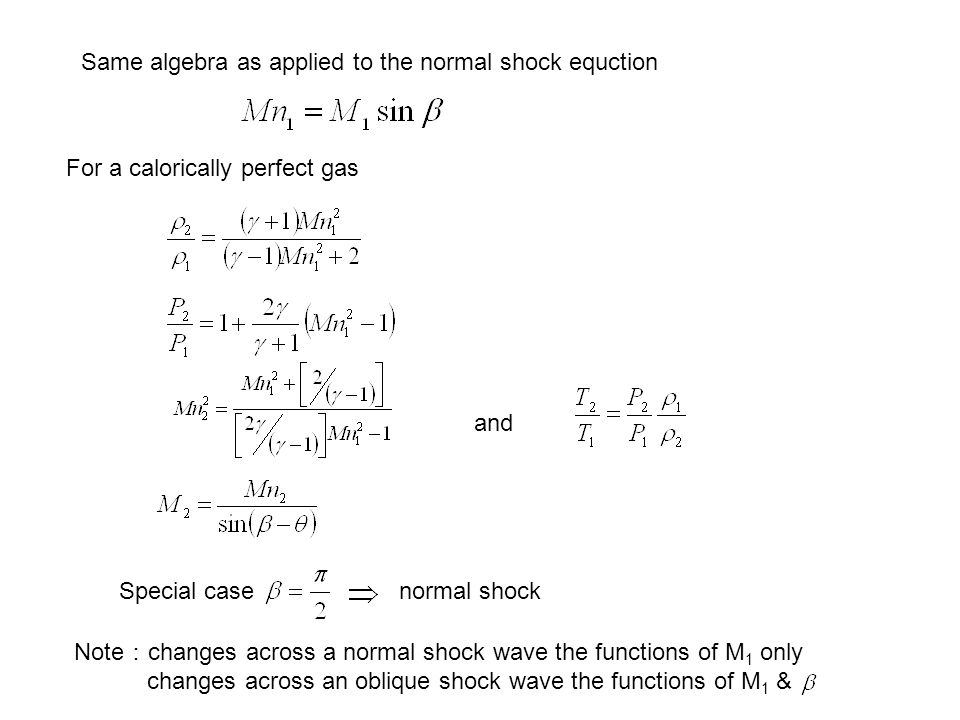Same algebra as applied to the normal shock equction