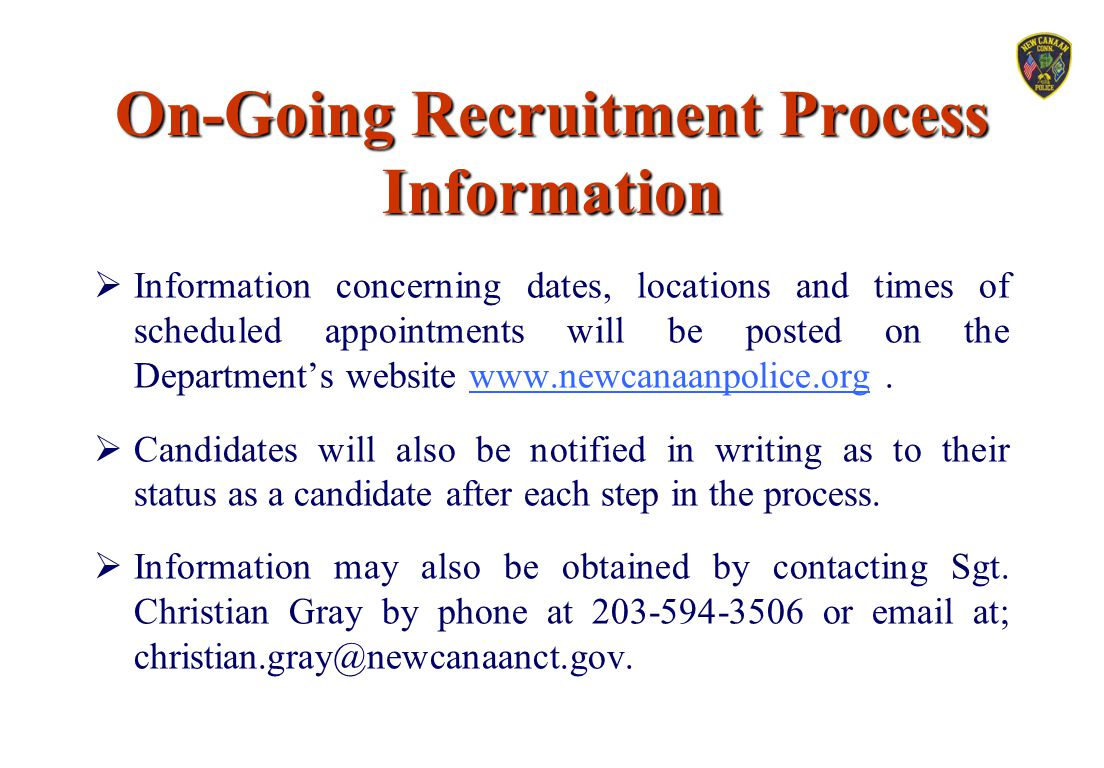 On-Going Recruitment Process Information
