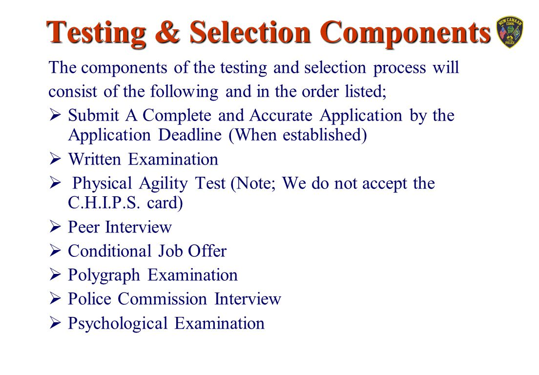 Testing & Selection Components