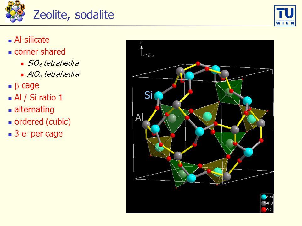 Zeolite, sodalite Si Al Al-silicate corner shared  cage