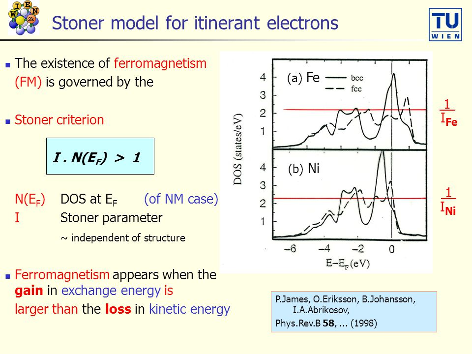 Stoner model for itinerant electrons