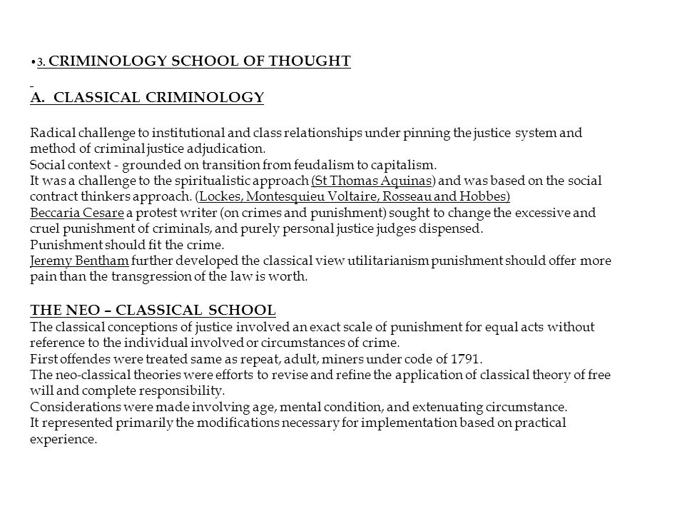 3. CRIMINOLOGY SCHOOL OF THOUGHT A