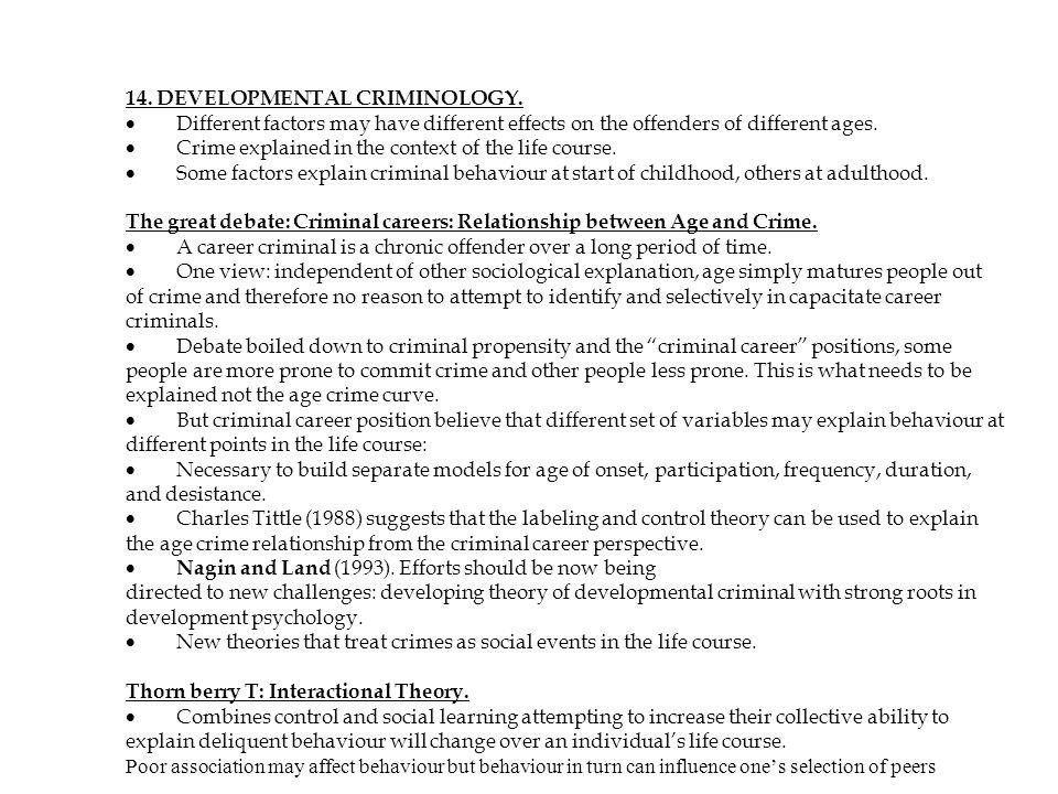 14. DEVELOPMENTAL CRIMINOLOGY