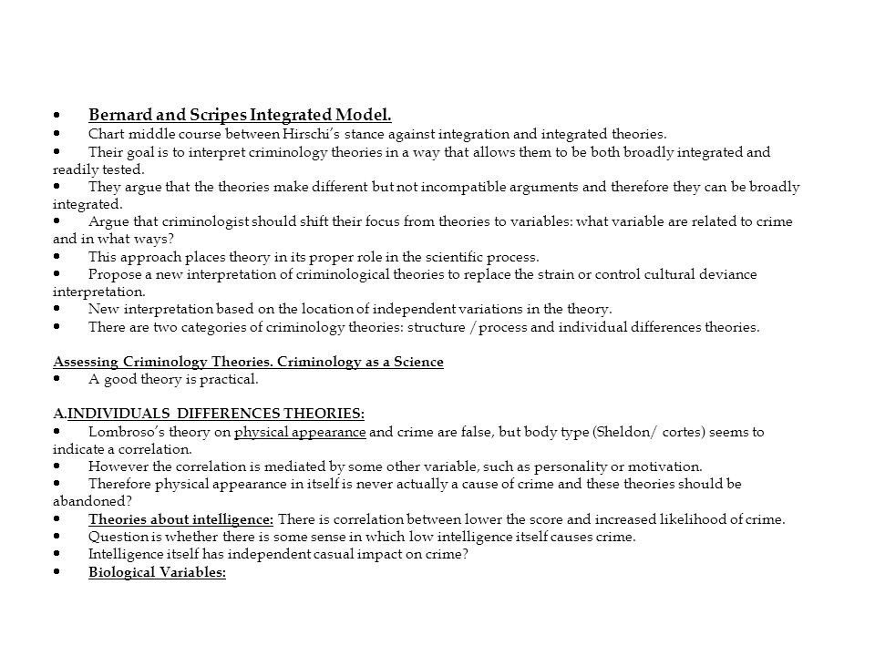 · Bernard and Scripes Integrated Model