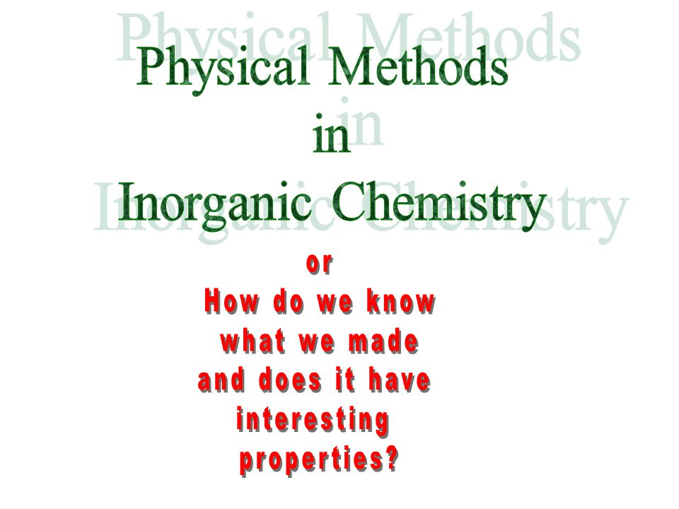 Physical Methods in Inorganic Chemistry or How do we know what we made