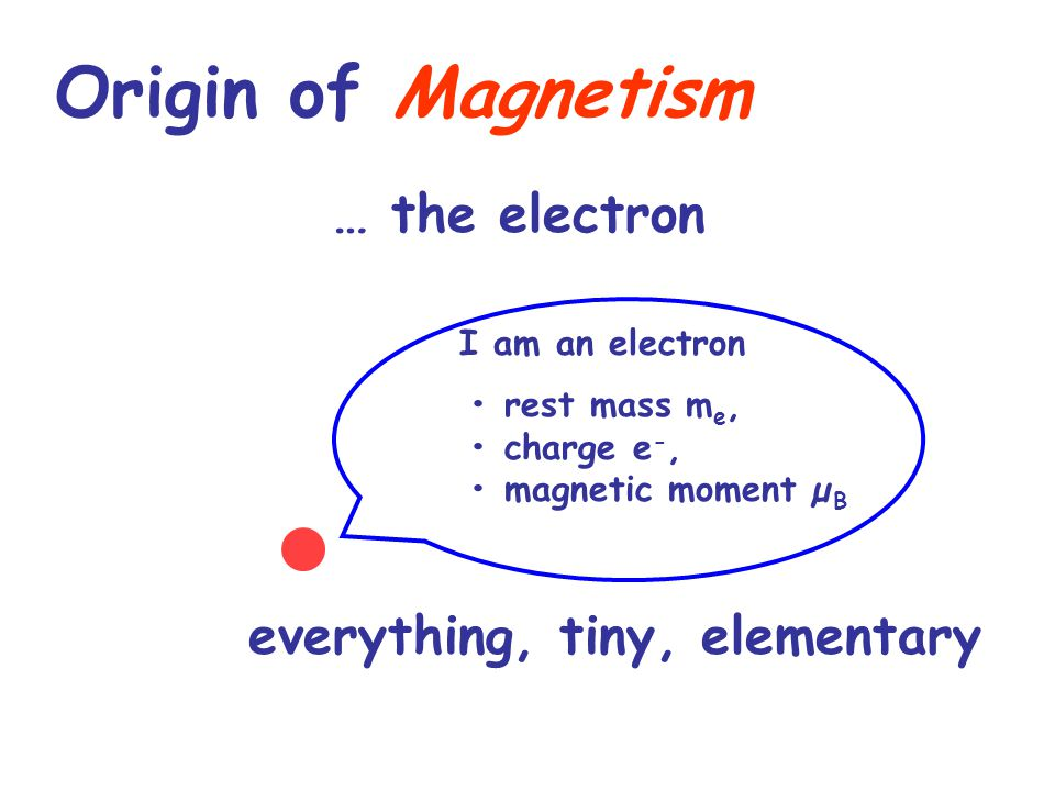 Origin of Magnetism … the electron everything, tiny, elementary