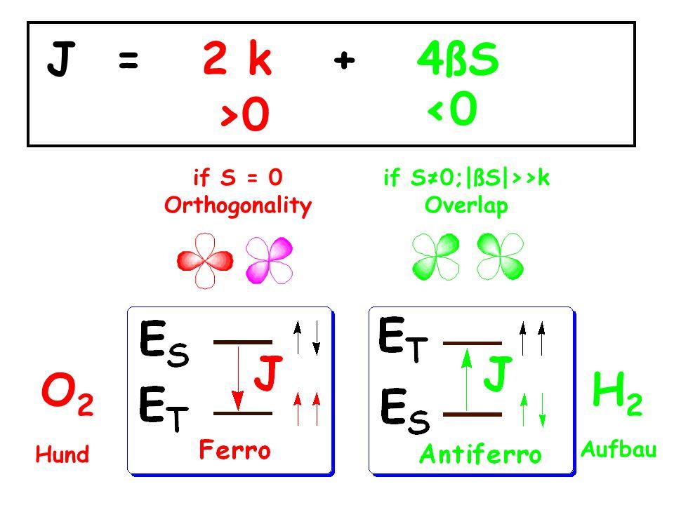 J = 2 k + 4ßS <0 >0 O2 H2 if S = 0 Orthogonality