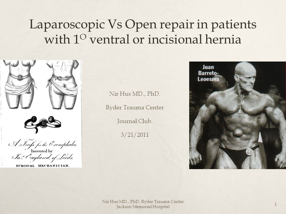 Laparoscopic Vs Open repair in patients with 1O ventral or incisional hernia