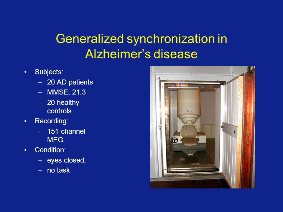 Generalized synchronization in Alzheimer's disease