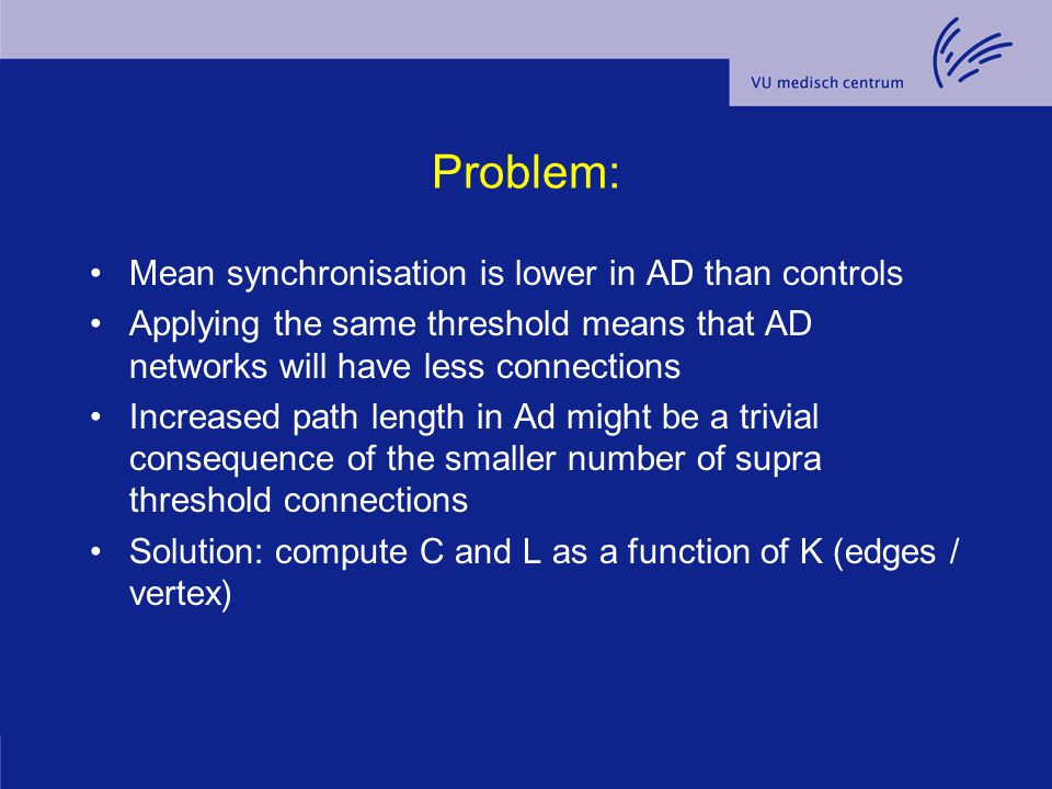 Problem: Mean synchronisation is lower in AD than controls