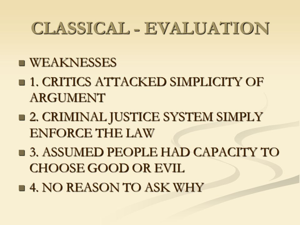 CLASSICAL - EVALUATION