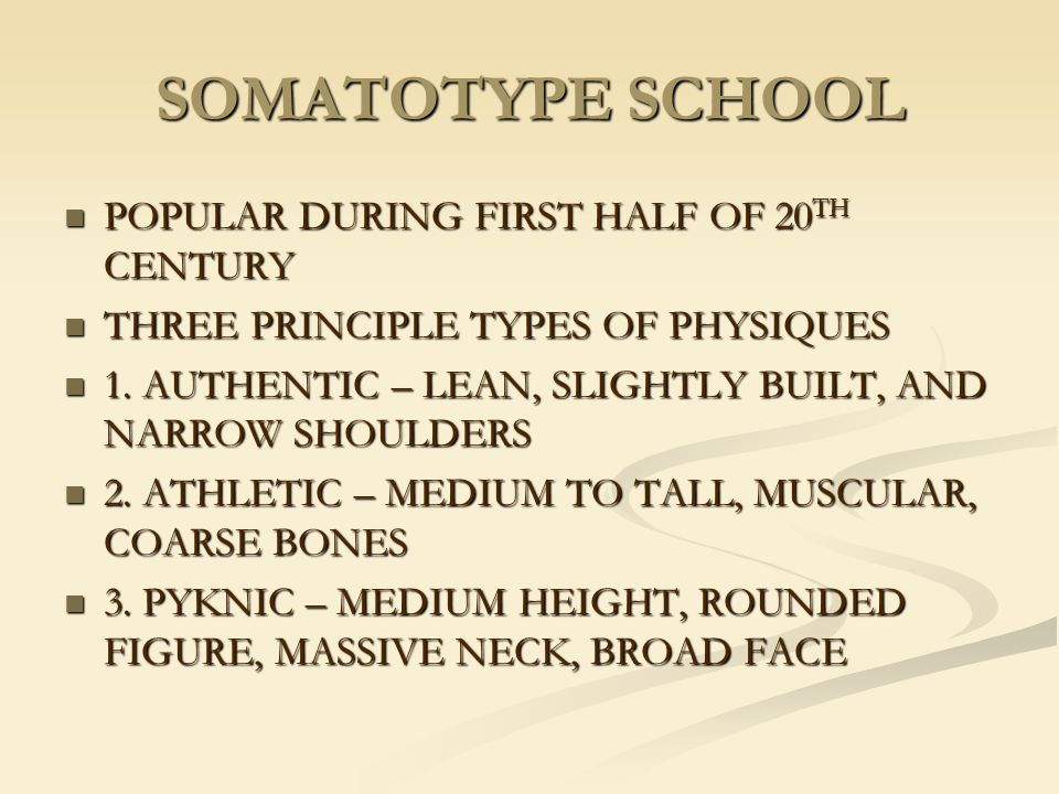 SOMATOTYPE SCHOOL POPULAR DURING FIRST HALF OF 20TH CENTURY