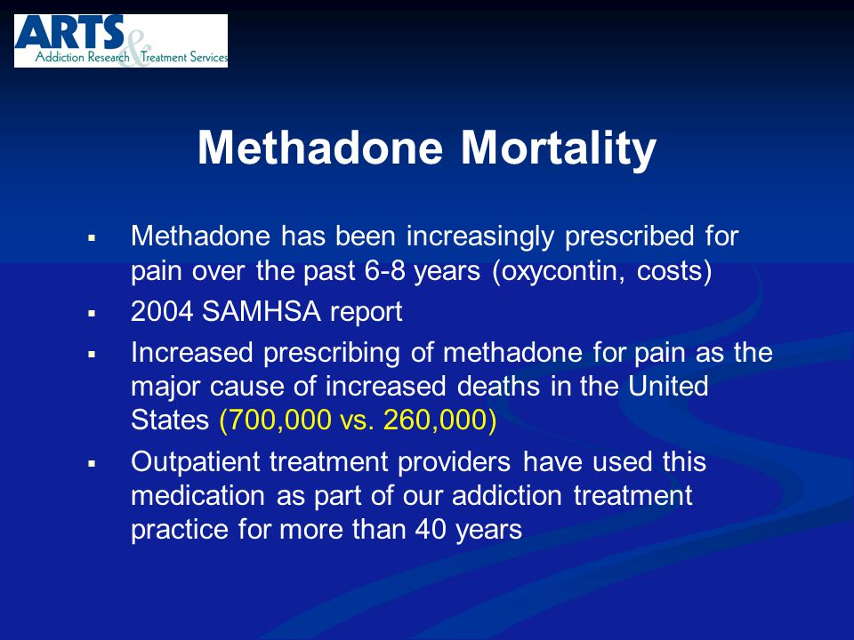 Methadone Mortality Methadone has been increasingly prescribed for pain over the past 6-8 years (oxycontin, costs)