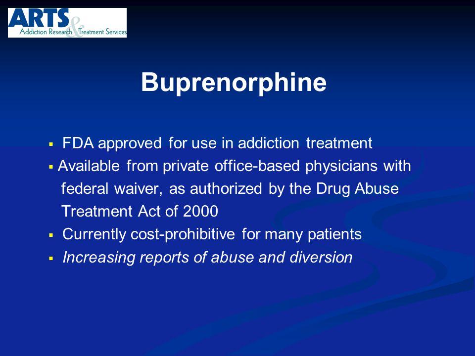 Buprenorphine FDA approved for use in addiction treatment
