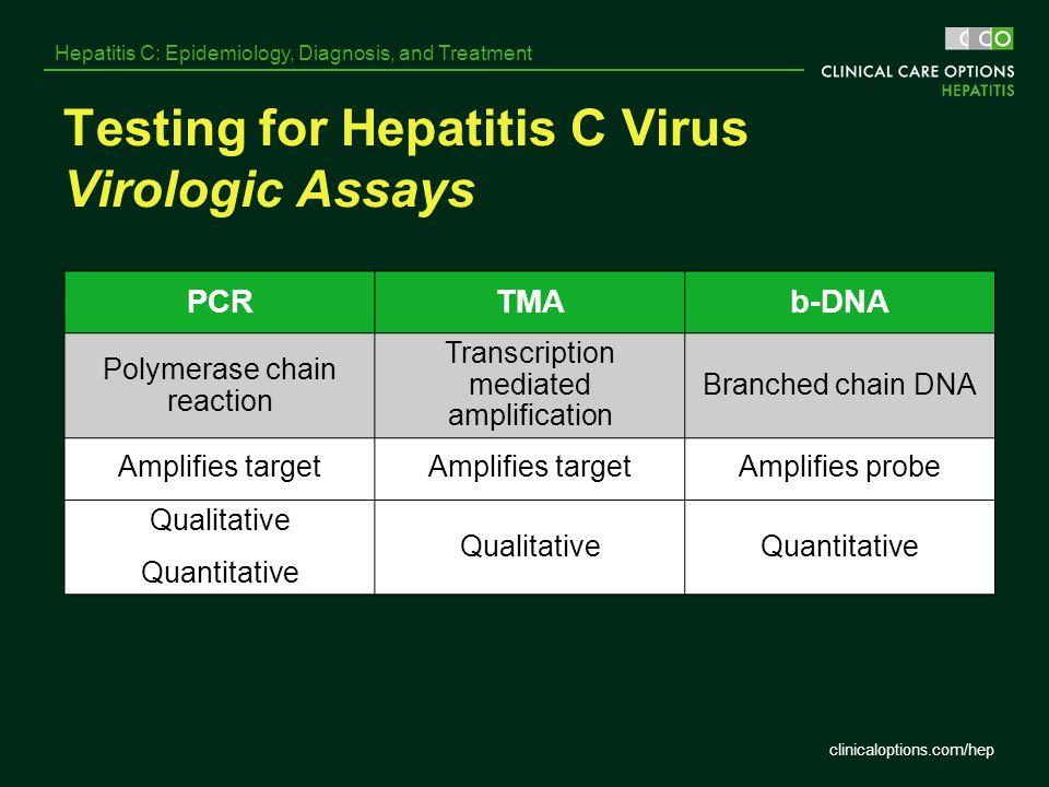Testing for Hepatitis C Virus Virologic Assays