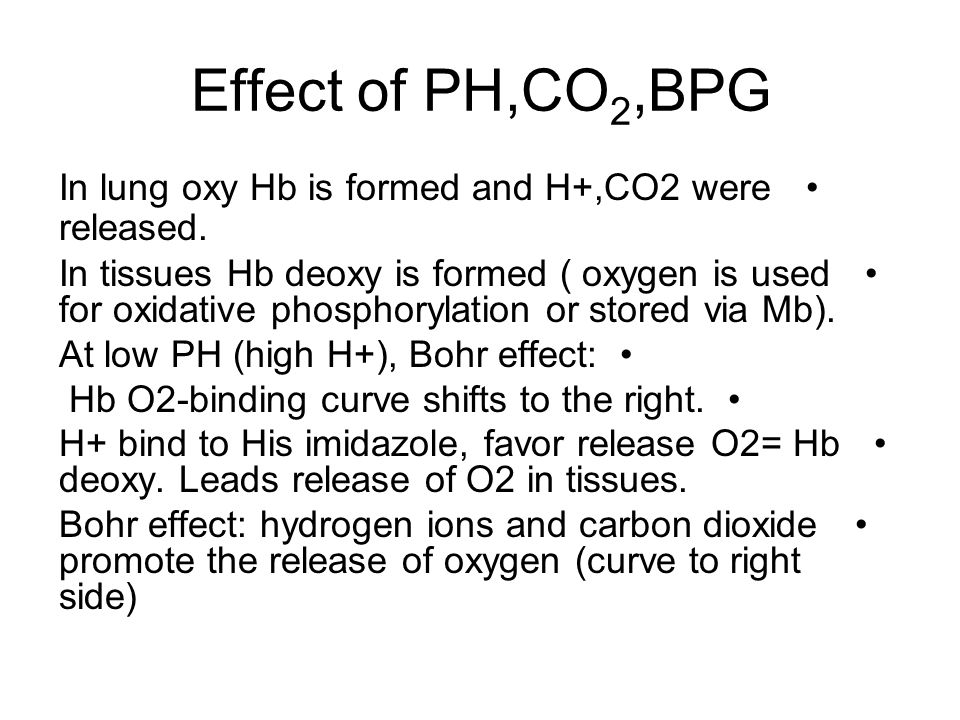Effect of PH,CO2,BPG In lung oxy Hb is formed and H+,CO2 were released.