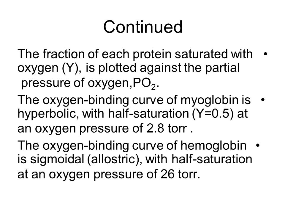 Continued The fraction of each protein saturated with oxygen (Y), is plotted against the partial pressure of oxygen,PO2.