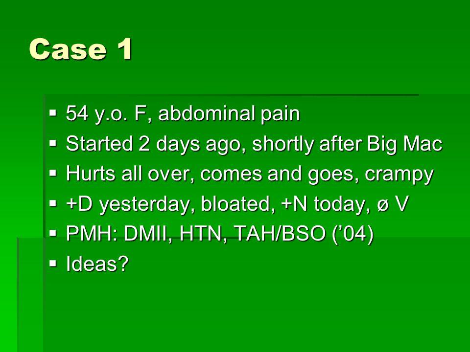 Case 1 54 y.o. F, abdominal pain