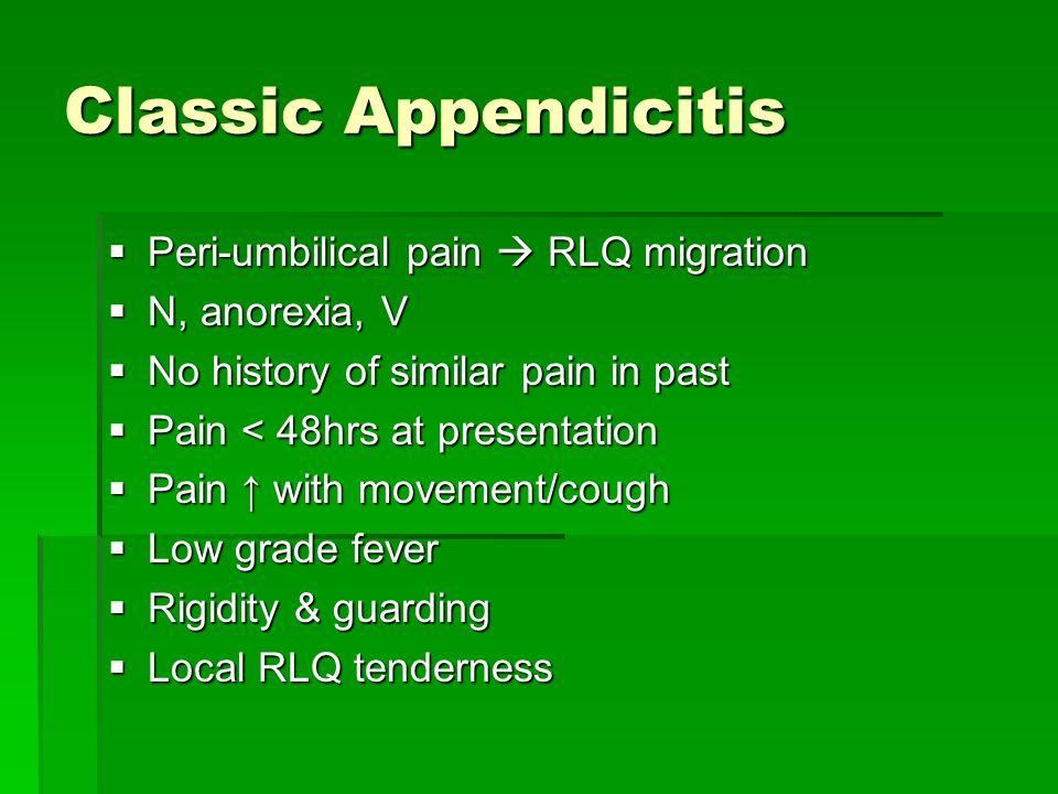 Classic Appendicitis Peri-umbilical pain  RLQ migration