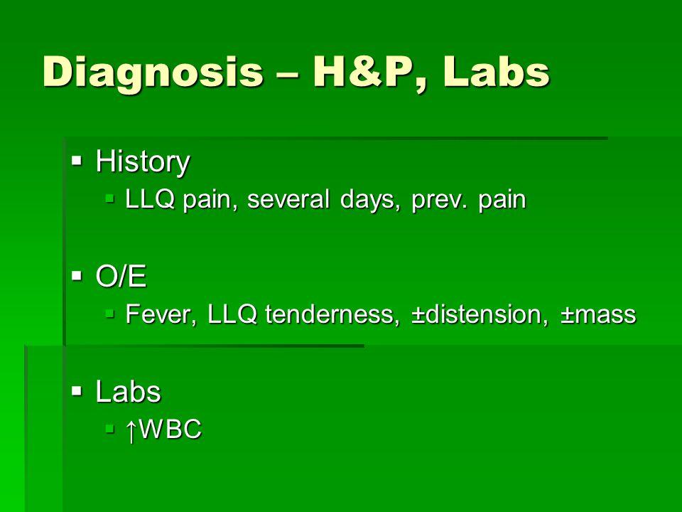 Diagnosis – H&P, Labs History O/E Labs